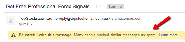 An example of an email which does not make it to the Inbox on Gmail because others have marked it as spam.