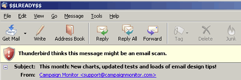 The ominous warning shown in Thunderbird if a link is considered suspicious.