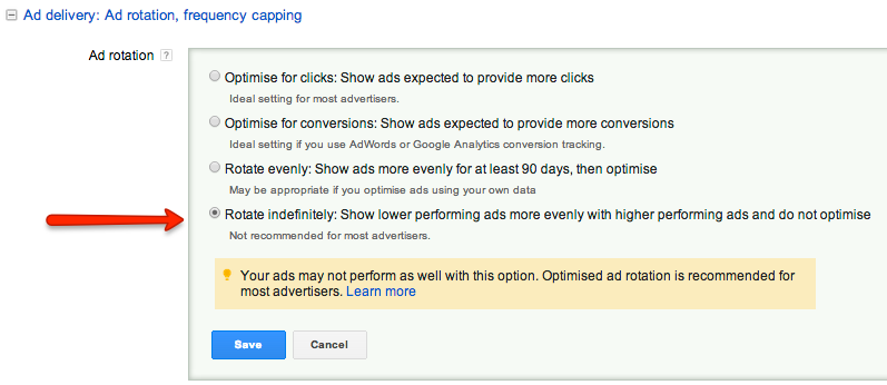When split testing adverts ensure 'Rotate Indefinitely' setting is on for the campaign, this is not recommendedby Google as it makes them less money and you more.