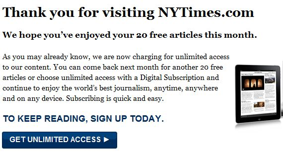 The Paywall used by the New York Times to sell digital subscriptions.