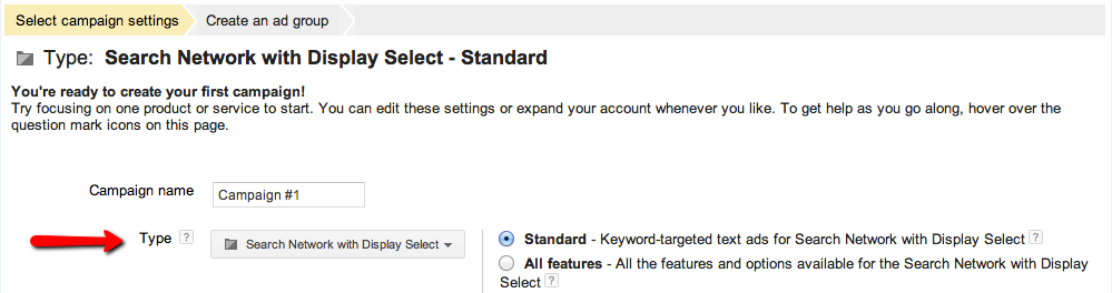 Googles default option when creating a new campaign is with the Display network on.