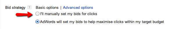 Googles default option is to allow them to set the bids, not a great idea if seeking an ROI positive campaign.