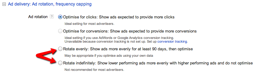 Whilst it is 'Recommended' for advertisers the ad with the highest click through rate may not be your best performing. Rotating ads is best practice.