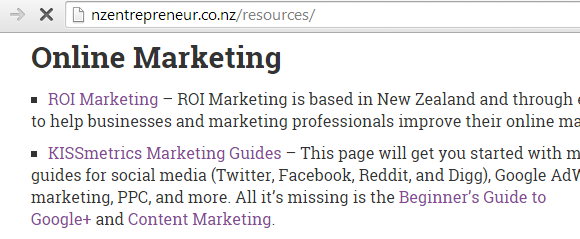 My website featured on a list of resources on nzentrepreneur.co.nz after link outreach.