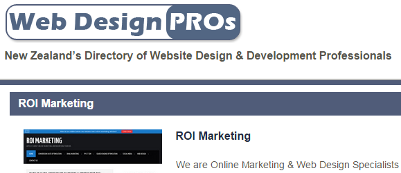 My listing on the niche, New Zealand based directory webdesignpros.co.nz.