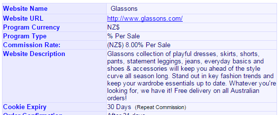 Glassons currently offer affiliates an 8% commission on all sales they generate.